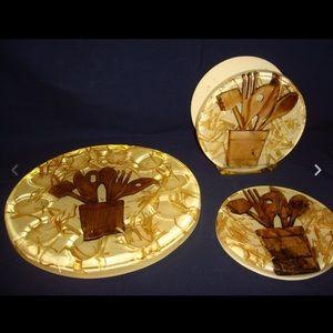 3 Country Vintage Egg Plate Napkin Holder Trivet